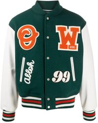 Off-White c/o Virgil Abloh Logo Patches Varsity Jacket - Green