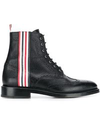 Thom Browne Tricolor-striped Leather Ankle Boots - Black