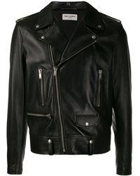Saint Laurent - Off-centre Zipped Leather Jacket - Lyst