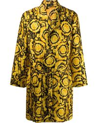 Versace Barocco Print Dressing Gown - Yellow