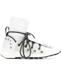 Sergio Rossi Lace-up Sock Sneakers - White