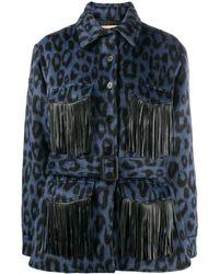 ANDAMANE Evita Animal Print Shirt Jacket - Blue