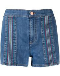 See By Chloé Signature Rainbow-stitch Denim Shorts - Blue