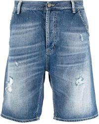 Dondup Ripped Denim Shorts - Blue