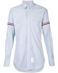 Thom Browne Striped Sleeves Shirt - Blue