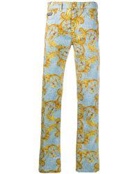 Versace Jeans Couture Baroque Straight-leg Jeans - Blue