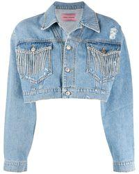 Chiara Ferragni Crystal-embellished Denim Jacket - Blue