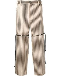 Song For The Mute Striped Wide Leg Cropped Trousers - Multicolour