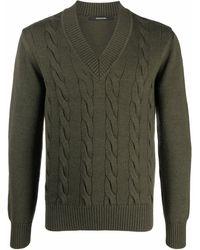 Tagliatore Cable Knit V-neck Sweater - Green