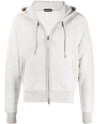 Tom Ford Drawstring Zipped Hoodie - Grey