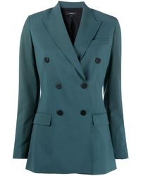 Theory Double-breasted Blazer - Green