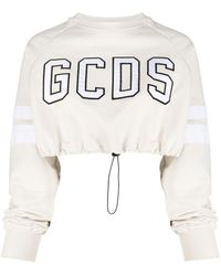 Gcds Cropped Embroidered-logo Sweatshirt - Multicolour