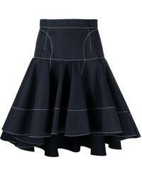 Alexander McQueen Contrast-stitch Ruffled Skirt - Blue