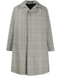 Tagliatore Checked Single-breasted Raincoat - Black