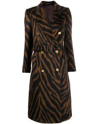 Tagliatore Tiger Print Coat With Belted Waist - Brown