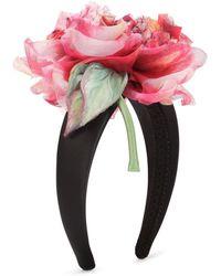 Dolce & Gabbana Floral Appliqué Headband - Black