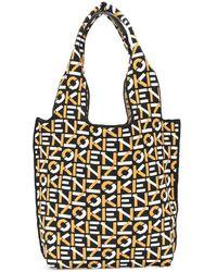 KENZO Knitted Logo-pattern Tote Bag - Black