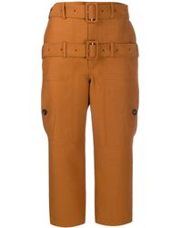Lanvin Double Belted Cropped Trousers - Orange