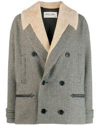 Saint Laurent Houndstooth Cropped Coat - Black
