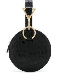 Tara Zadeh Croc Effect Embossed Circle Bag - Black