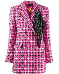 Versace Scarf Detail Checked Blazer - Pink