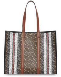 Burberry Tb Monogram Canvas Tote - Brown