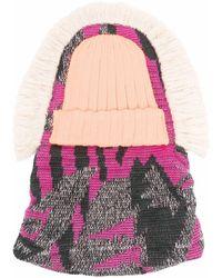 Junya Watanabe Layered Effect Knit Hat - Pink
