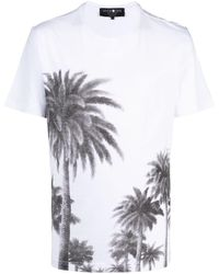 Hydrogen Palm Tree-print Cotton T-shirt - White