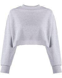 Chiara Ferragni Logo-tape Cropped Sweatshirt - Grey