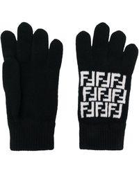 Fendi Ff Knitted Gloves - Black