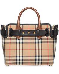 Burberry The Belt Bag Mini Check Cotton Tote - Multicolor