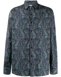 Etro Long Sleeve Paisley Print Shirt - Blue