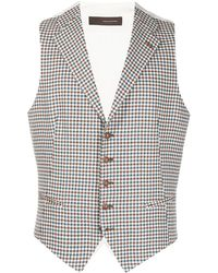 Tagliatore Check Tailored Waistcoat - White