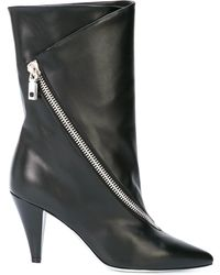 Givenchy Asymmetric-zip Leather Ankle Boots - Black