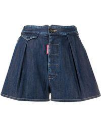 DSquared² Pleated Denim Shorts - Blue
