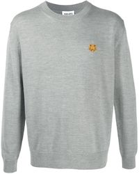 KENZO Tiger Embroidered Crew Neck Sweater - Gray