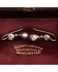 Erica Weiner Georgian Petite Rose Cut Diamond Drop Earrings - Multicolor
