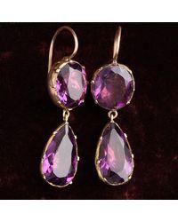 Erica Weiner Georgian Amethyst Paste Drop Earrings - Purple