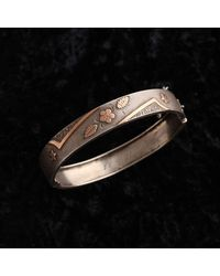 Erica Weiner Victorian Silver And 9k Rose Gold Flower And Star Bangle - Metallic