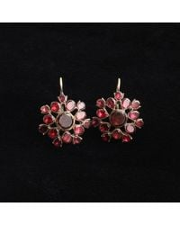 Erica Weiner 18th Century Flat Cut Garnet Cluster Earrings - Black