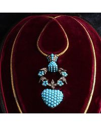 Erica Weiner Victorian Turquoise And Diamond Hand Grasping Wreath And Heart Locket In Original Box - Multicolor