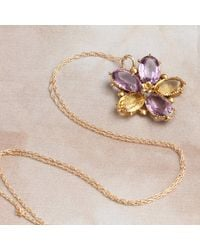 Erica Weiner Victorian Amethyst And Citrine Pansy Pendant - Multicolor