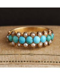 Erica Weiner Georgian Turquoise And Pearl Band - Blue