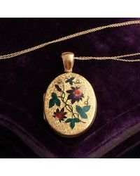 Erica Weiner Victorian Gold And Enamel Passion Flower Locket - Multicolor