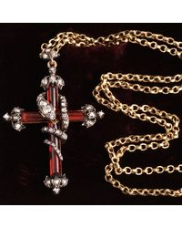 Erica Weiner Early Victorian Garnet And Diamond Fleury Cross With Diamond Studded Snake - Multicolor