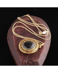 Erica Weiner Mid Victorian Banded Agate And Enamel Greek Key Mourning Locket - Multicolor