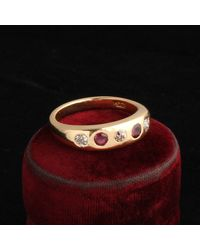 Erica Weiner Victorian Diamond And Ruby Five Stone Ring - Multicolor