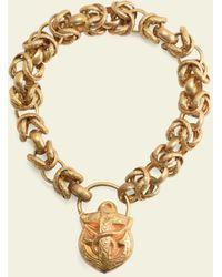 Erica Weiner Georgian Pinchbeck Fancy Chain Bracelet With Anchor Lock - Metallic
