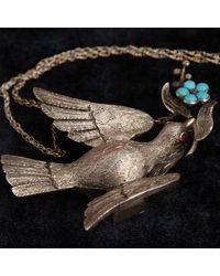 Erica Weiner Mid Victorian Silver Dove Necklace With Garnet Eyes And Turquoise Forget Me Not - Metallic