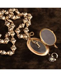 Erica Weiner Mid 19th Century Swiss Enamel Necklace With Locket, Padlock And Key - Multicolor